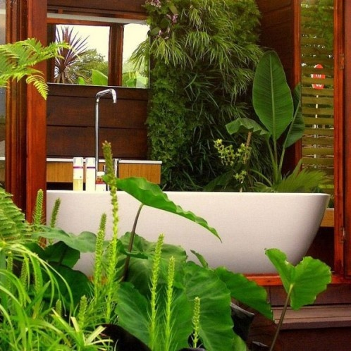 a half outdoor and half indoor bathroom clad with wood and with lots of tropical plants for a chic and lively look - completely connected with nature