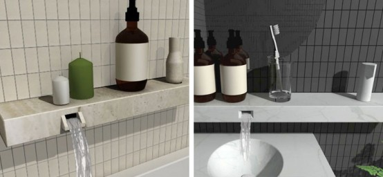 Bathroom Shelf Integrated With Faucet – Shelf Life by David Goss