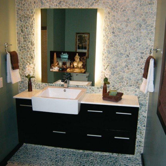Awesome Bathroom Retro Bathroom Idea With Grey Wall Paint Plus Completed
