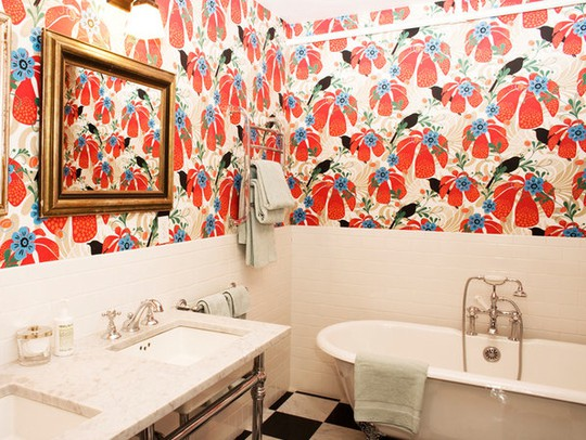 Bathroom With Colorful Pattern On Walls