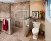 Picture of bathrooms with half walls for Bathroom ideas 8x8