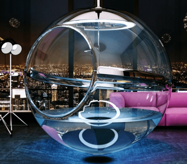 Glass Bathtub bathsphere: suspended glass bubble bathtub - digsdigs