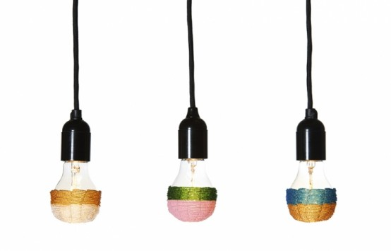 Beaded Colour Up Lampshade For Bulbs