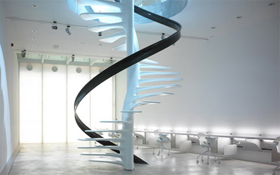10 the most cool glass staircase designs digsdigs for Spiral stair design