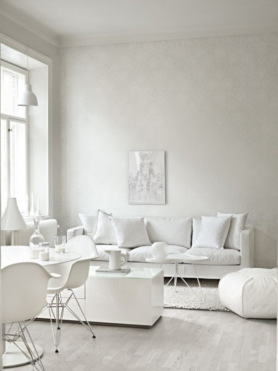 Beautiful Living Room Window Treatments: All Shades Of White: 30 Beautiful Living Room Designs