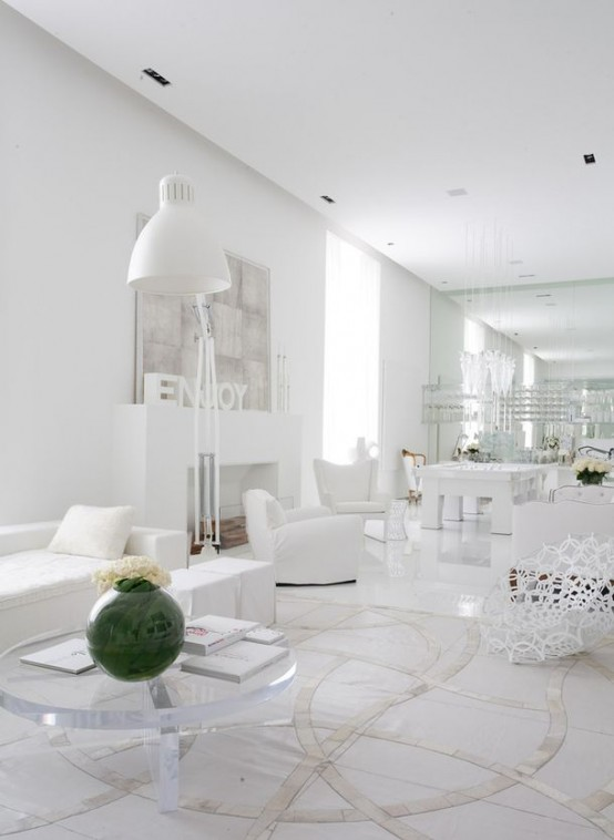 White Living Room Decor Chic