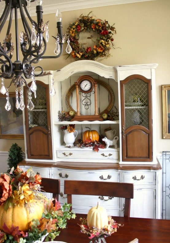 beautiful and cozy fall dining room decor ideas - Fall Kitchen Decorating Ideas
