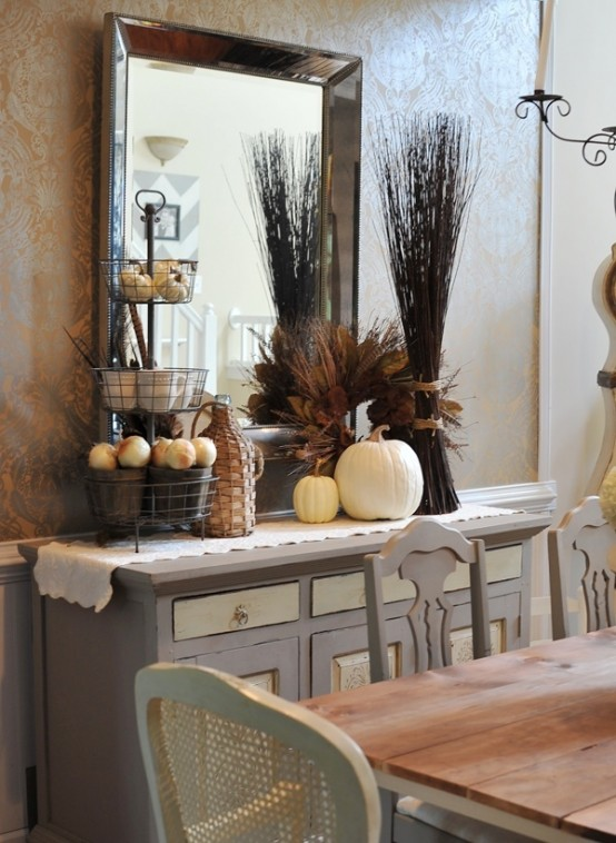 Elegant Beautiful And Cozy Fall Dining Room Decor Ideas