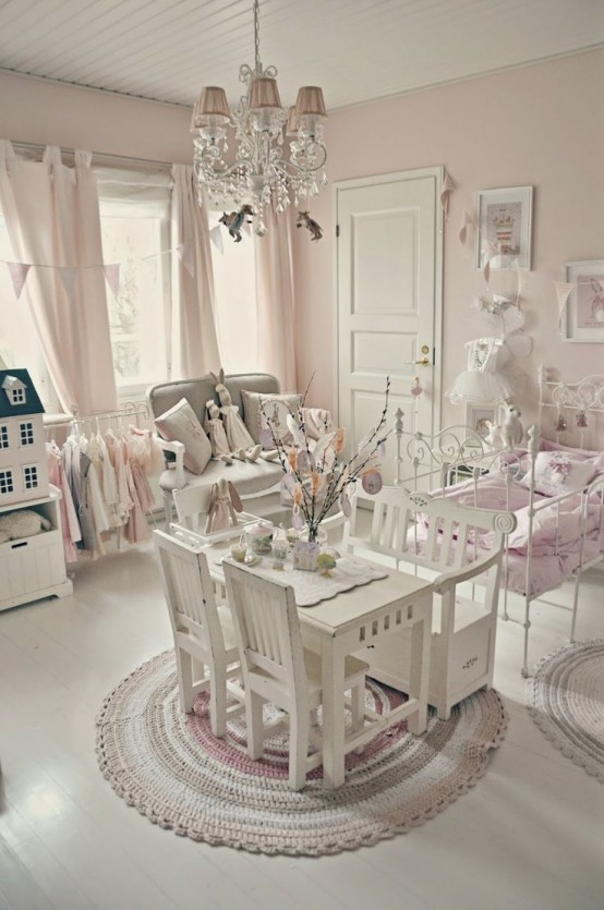 40 beautiful and cute shabby chic kids room designs digsdigs for Chambre style shabby chic