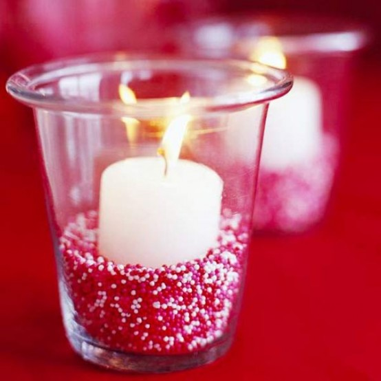 Love this Valentine's votive idea using sprinkles! Perfect for Valentine's candy decor!