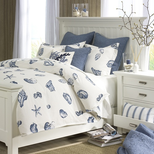 Sea shells and sea stars is a perfect pattern for a bedding set.