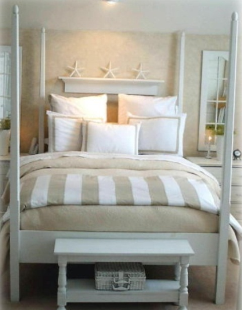 If you don't have a headboard or it's quite small you can put a display shelf above the bed. Sea stars would look great there.