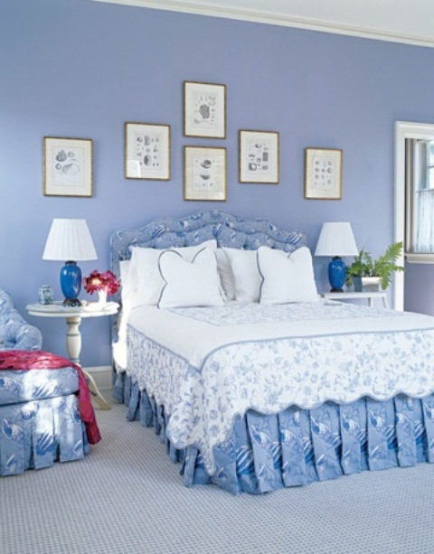 Non standard blue shade used in this bedroom reminds a color of water in Mediterranean sea. A little gallery art wall showing some beautiful sea creatures to continue the theme.