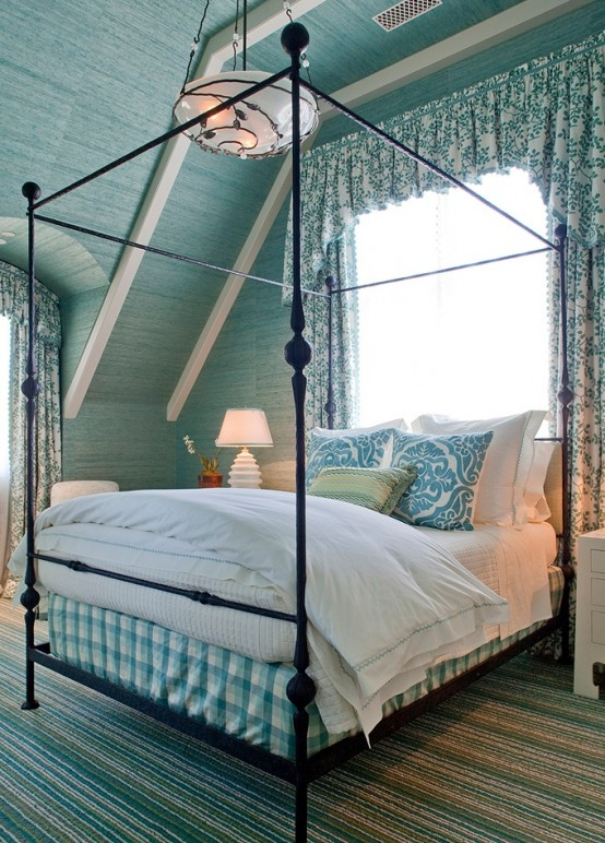 an attic bedroom could easily be beach themed and popular for that shades of blue would