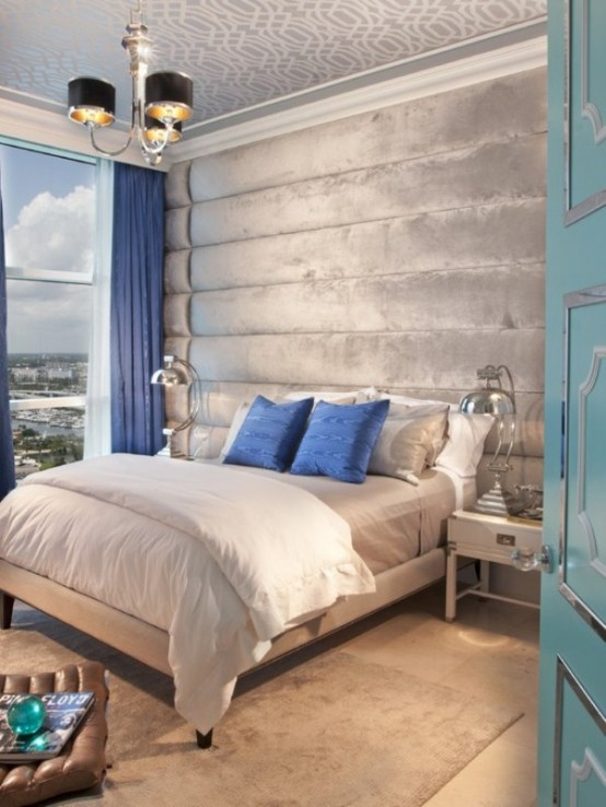 20 beautiful blue and gray bedrooms digsdigs for Blue bedroom wallpaper ideas