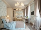 a creamy and ligth grey bedroom infused with touches of light blue  – bedding and wallpaper