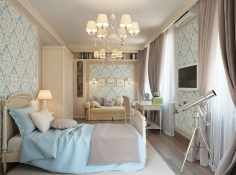 a creamy and ligth grey bedroom infused with touches of light blue    bedding and wallpaper