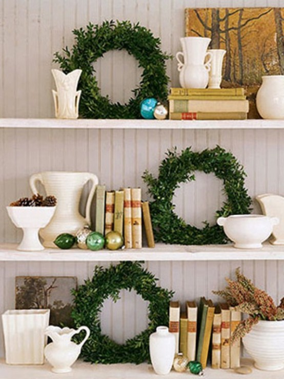 Small wreaths are perfect splashes of color to your shelves and bookcases.