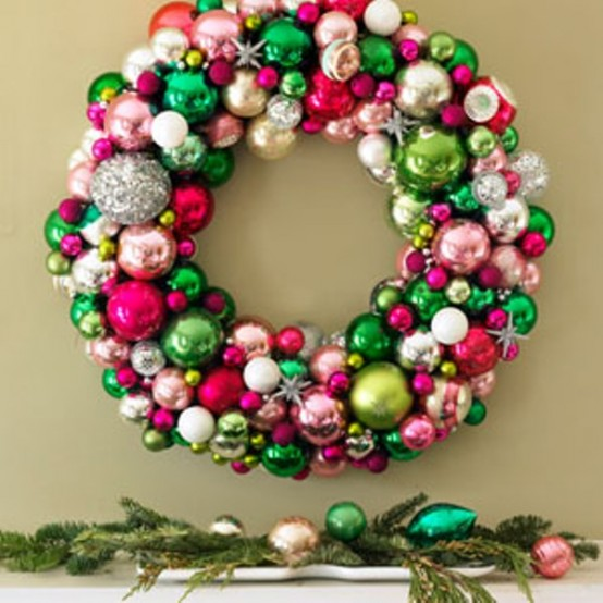 Colorful ball ornaments are a perfect material to make fun wreath, perfect for a playroom.