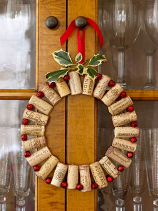 Do you have a home bar or a glassware cabinet? Upcycle old corks to make a cute, little wreath to hang on the cabinet.