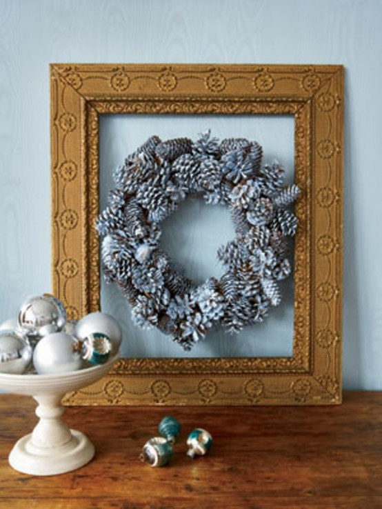 To make a wreath looks rustic find a vintage frame and hang the wreath inside of it.
