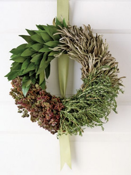 For all of those foodies out there - make a wreath of dried herbs! It not only would look great but its smell would be amazing too.