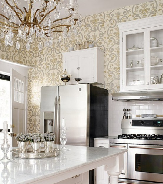26 beautiful glam kitchen design ideas to try digsdigs for 3d wallpaper for kitchen walls