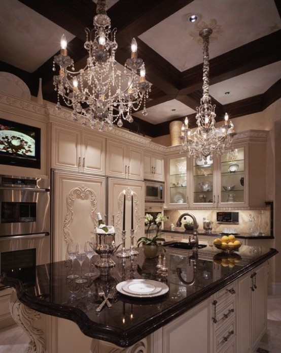 26 beautiful glam kitchen design ideas to try digsdigs for Beautiful kitchen decor