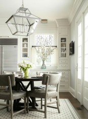 a cozy neutral dining space design