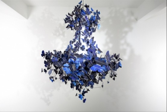 Beautiful Sapphire Blue Chandelier Of Butterflies