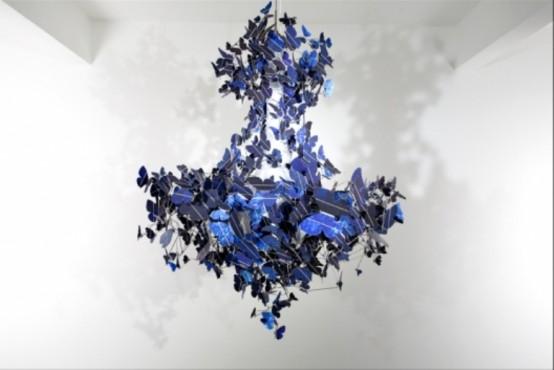 Beautiful Sapphire Blue Chandelier Of Butterflies