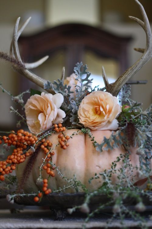 a blush pumpkin with blush blooms, greenery, berries and antlers for a chic Thanksgiving centerpiece