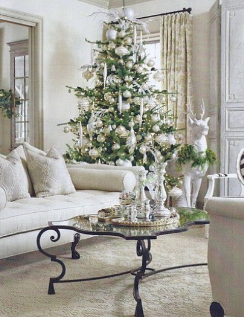 a Christmas tree with sheer and silver Christmas ornaments, usual and oversized ones plus lights looks very charming