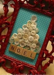 a cute Christmas tree art made of buttons, scrabble letters and a refined red frame is a cute vintage idea
