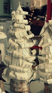 curled note paper Christmas tabletop trees look cute and fun and will add vintage charm to your space