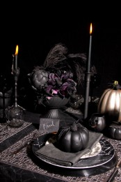 cool moody halloween tablescape