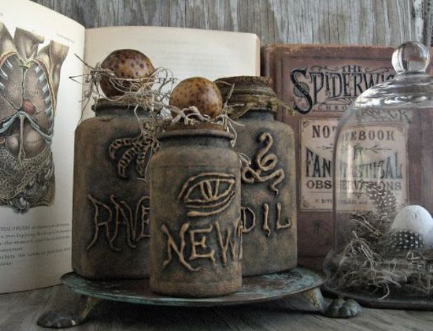 such named vintage bottles are amazing to style your drinks and serve them at a vintage Halloween party