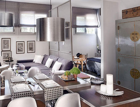 Beautifully decorated 48 square meter apartment digsdigs for Living room 10 square meters