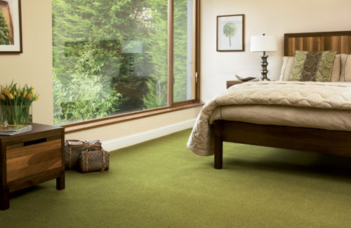 Bedroom In Natural Brown And Green Colors