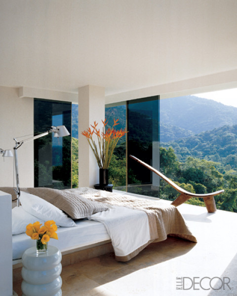 Bedroom With A Dramatic View And Concerete Bed