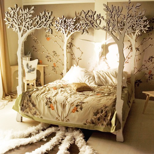 Bedroom With A Nature Inspired Canopy Bed