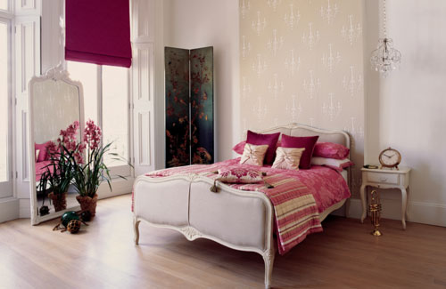 Bedroom With Bright Curtains