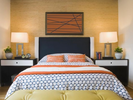 Bedroom With Bright Orange Accents