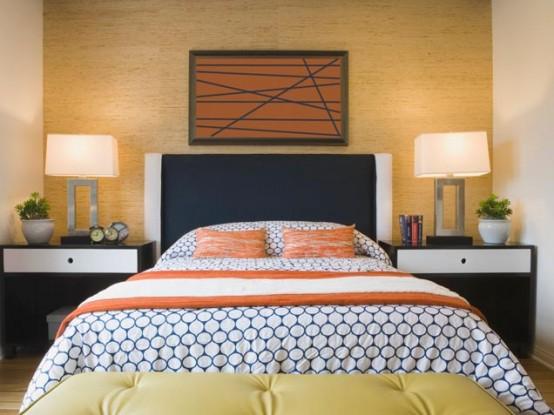 Bedroom With Bright Orange Accents