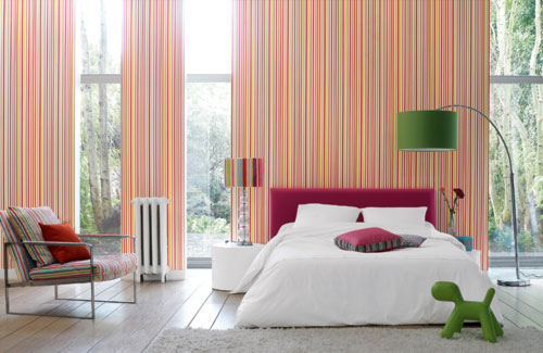 Bedroom With Colorful Thin Stripes On Walls