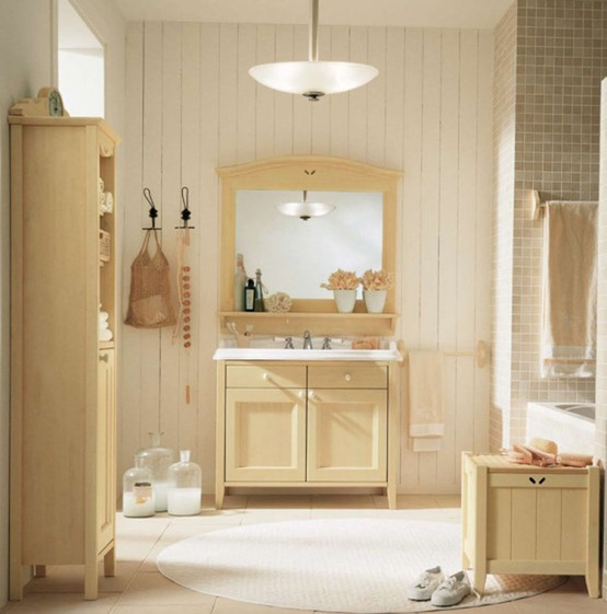 a beige, taupe and creamy bathroom with rustic vintage furniture, cool textiles and a window