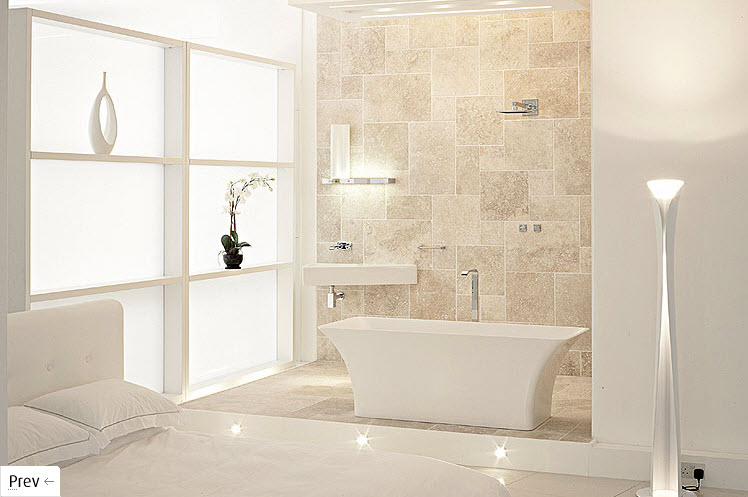a beige and white bathroom with a catchy tub and frosted glass