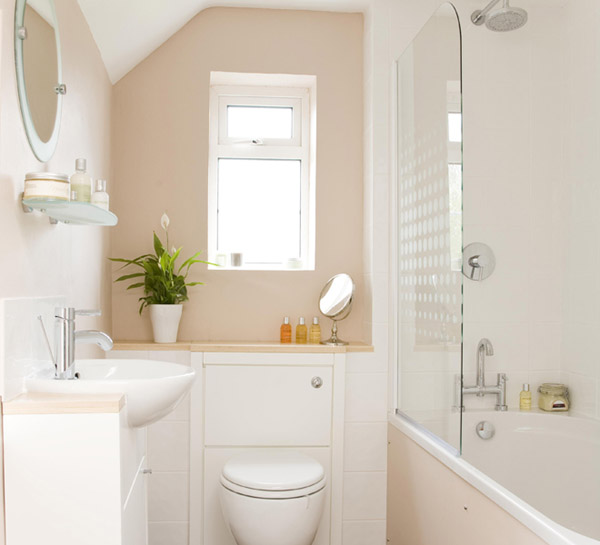 a taupe and white small bathroom looks fresh and doesn't look that small thanks to the color combo