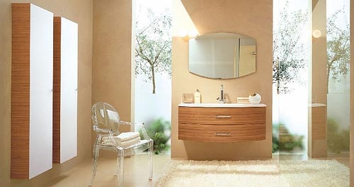 a taupe bathroom with rich-colored wood items, greenery in the shower and an acrylic chair