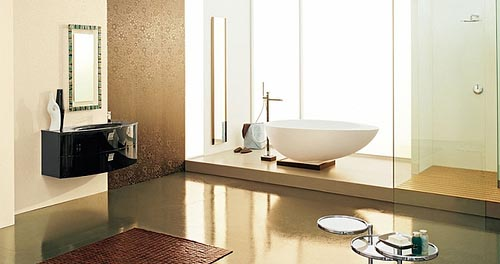 a taupe, brown and creamy bathroom with a blakc polished vanity, a large bathtub and a shower
